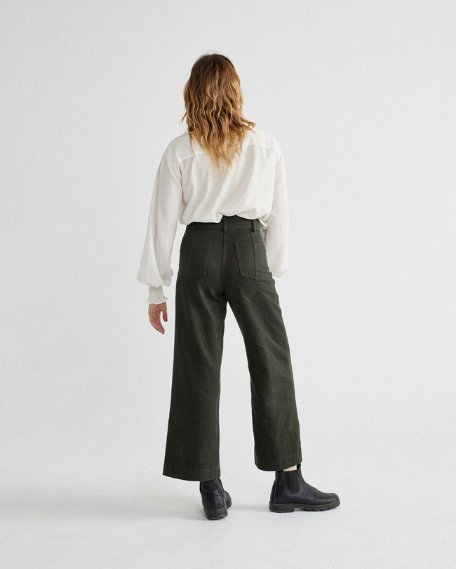 Pantalon large vert kaki en coton bio - kupalo - Thinking Mu num 3