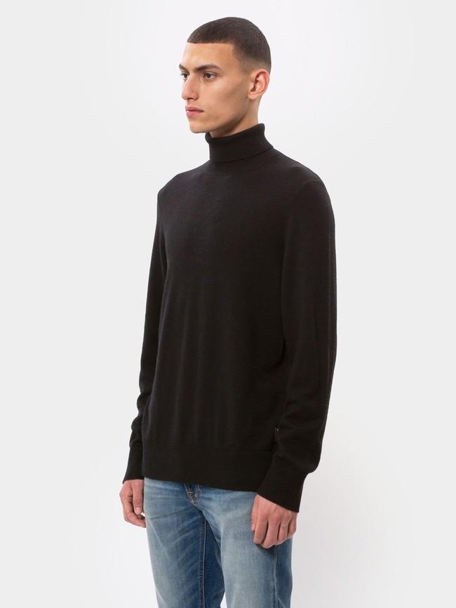 Pull col roulé noir en coton bio - cornelis - Nudie Jeans num 1