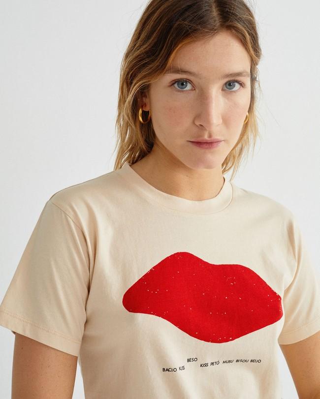T-shirt imprimé écru en coton bio - beso - Thinking Mu num 1