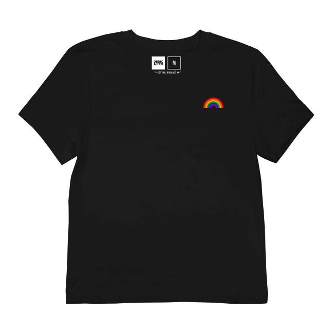 T-shirt noir motif arc-en-ciel en coton bio - rainbow - Dedicated num 1