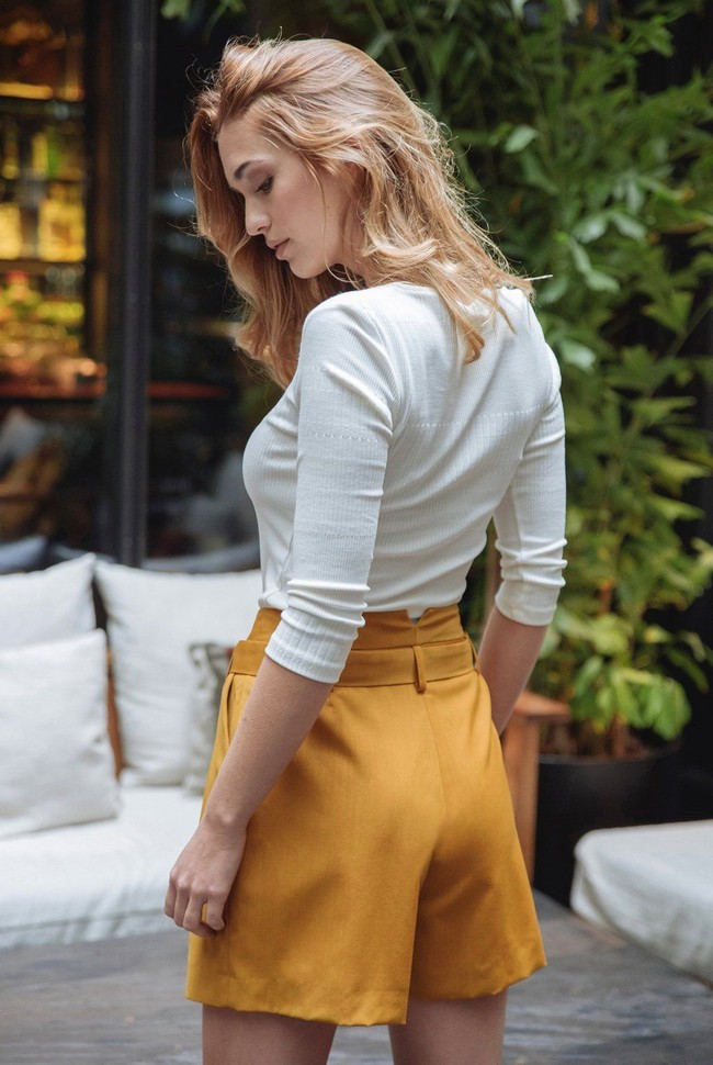 Short tailleur rome jaune safran - 17h10 num 3