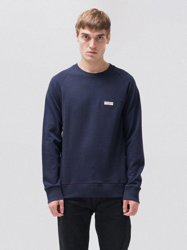 Sweat bleu en coton bio - samuel - Nudie Jeans