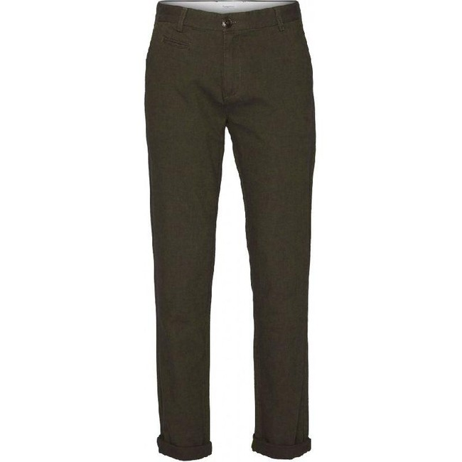 Pantalon chino droit flanelle vert forêt en coton bio - chuck - Knowledge Cotton Apparel