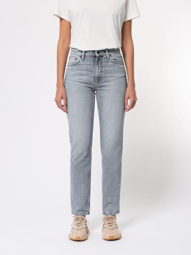 Jean mom gris clair délavé en coton bio - breezy britt light desert - Nudie Jeans