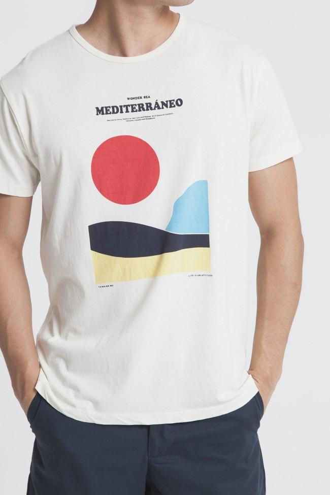 T-shirt imprimé blanc en coton bio - mediterraneo - Thinking Mu num 1