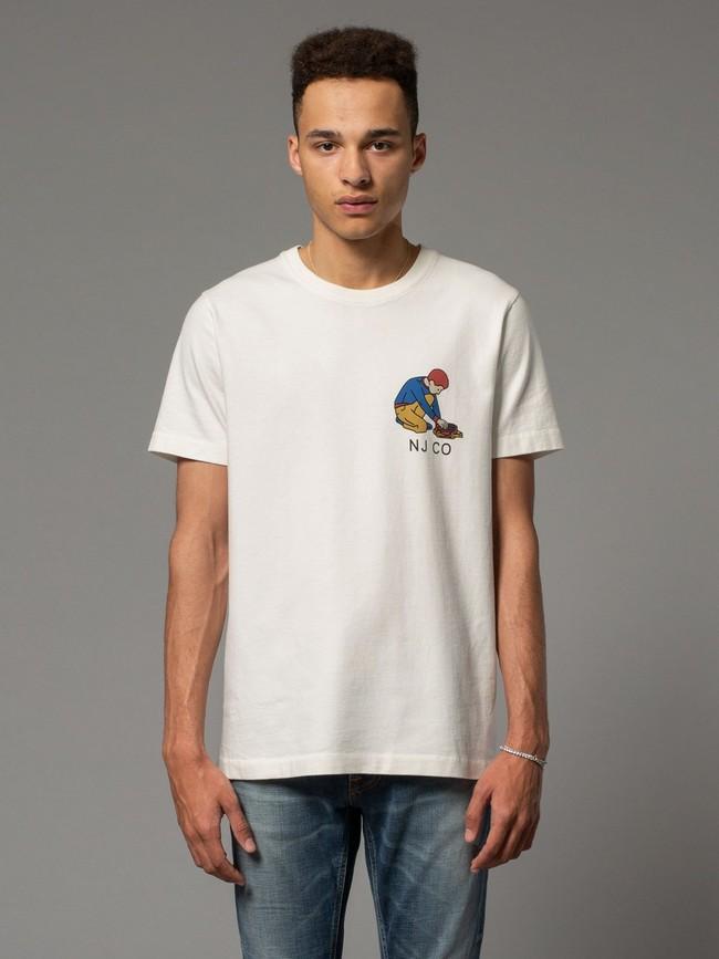 T-shirt blanc avec logo - roy multi logo boy - Nudie Jeans