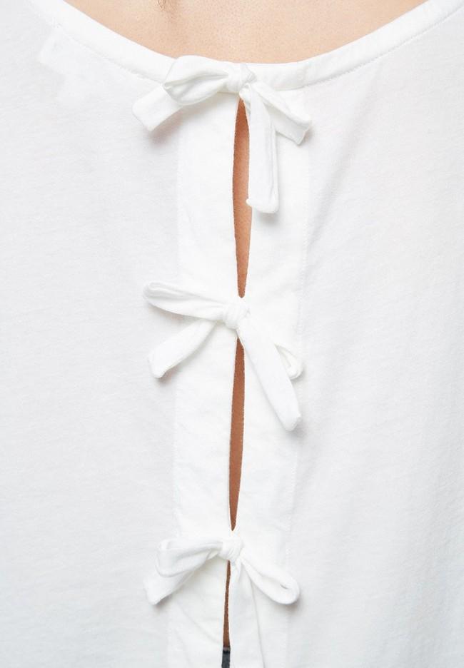 T-shirt avec nœuds blanc en coton bio - ilkaa - Armedangels num 2