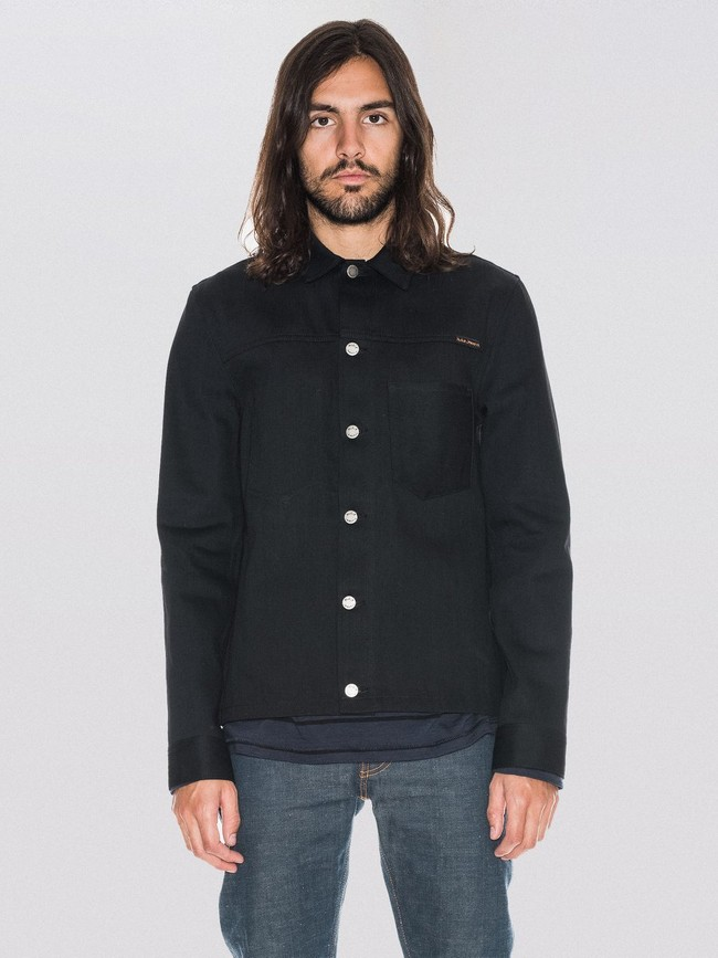 Veste en jean selvage noir en coton bio - ronny - Nudie Jeans