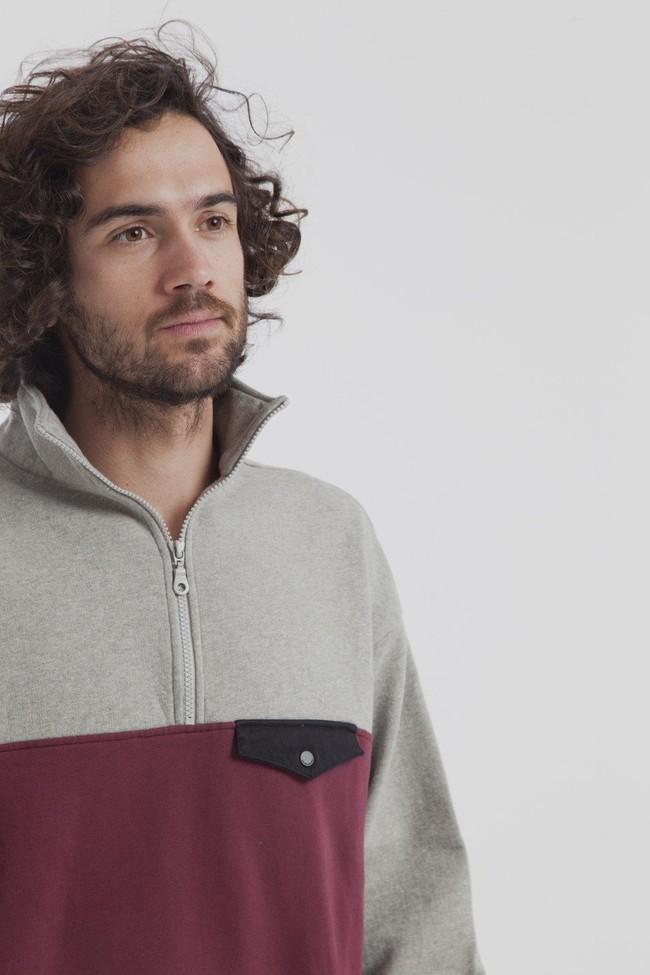 Sweat col zippé bicolore en coton bio - challenger - Thinking Mu num 2