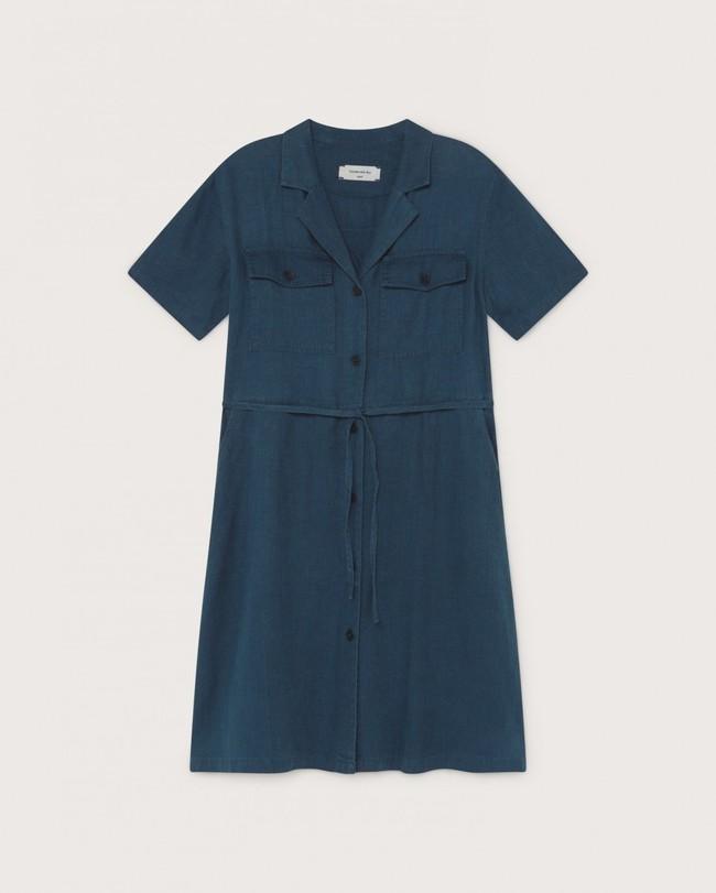 Robe bleu canard en chanvre, coton bio et tencel - karen - Thinking Mu num 4