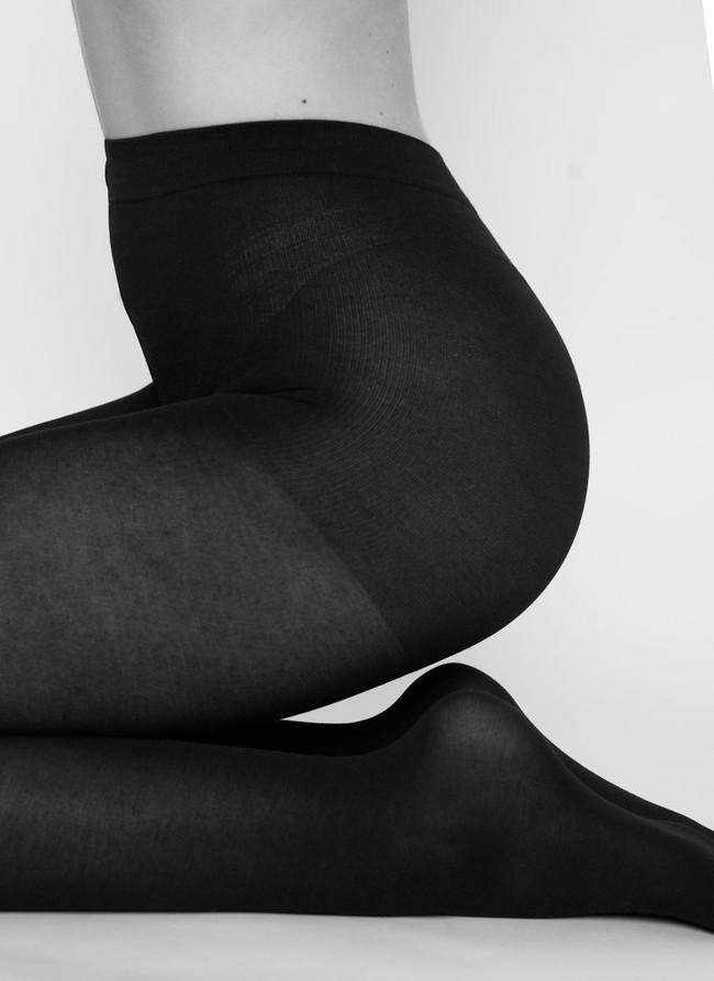 Collants semi-opaques noirs en coton bio et matière recyclée - stina - Swedish Stockings num 1