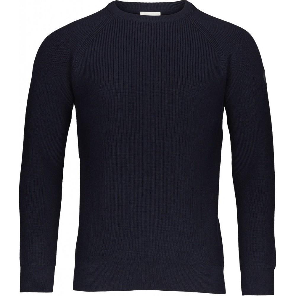 Pull marine en coton et laine bio - rib o neck - Knowledge Cotton Apparel