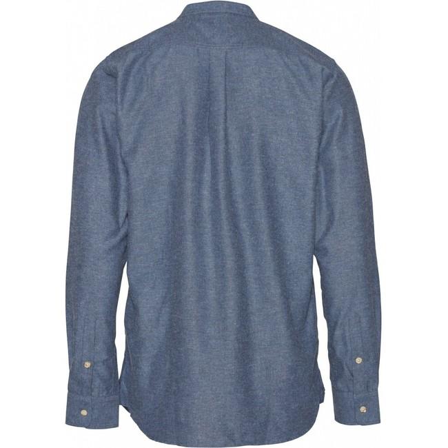 Chemise col mao bleue en coton bio - mélange effet flanelle - Knowledge Cotton Apparel num 1