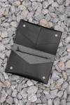 Portefeuille noir en cuir recyclé - flat purse - Walk with me - 4