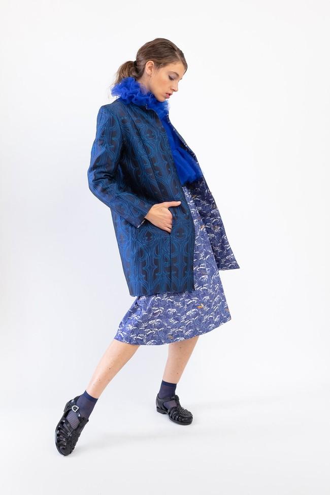 "Jupe ""midi"" motif méditerranée - Bleu Tango num 3"
