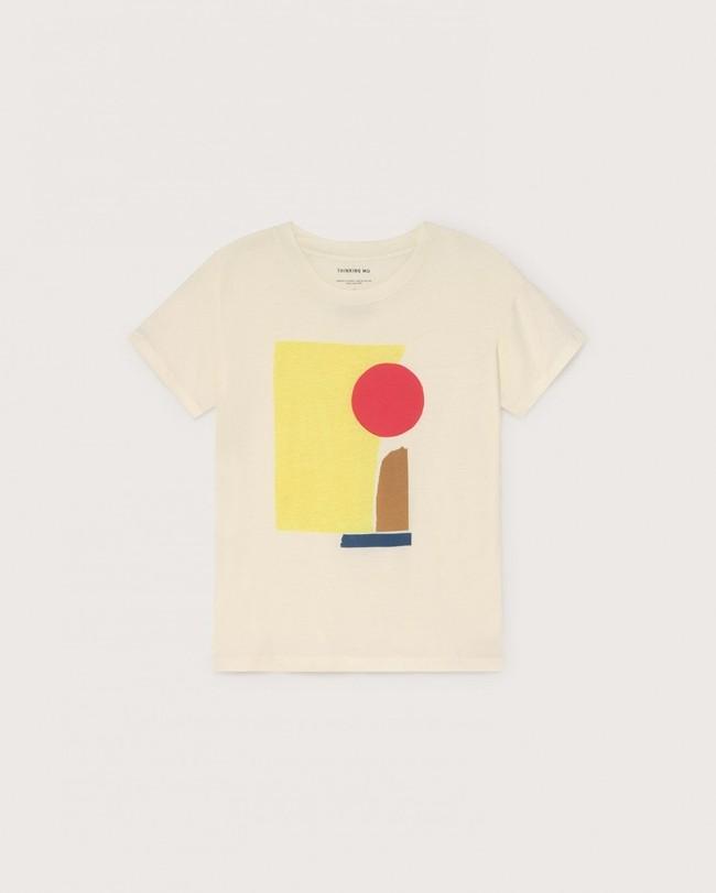 T-shirt imprimé blanc en coton bio - abstract - Thinking Mu num 3