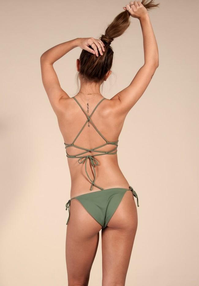 Bas de bikini kaki en polyamide recyclé - Ocealah num 2