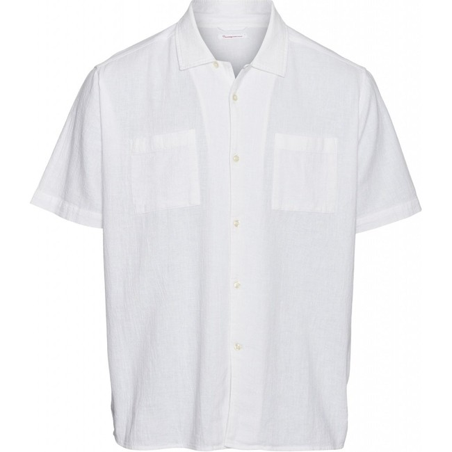 Chemise à manches courtes blanche en lin et coton bio - wave - Knowledge Cotton Apparel