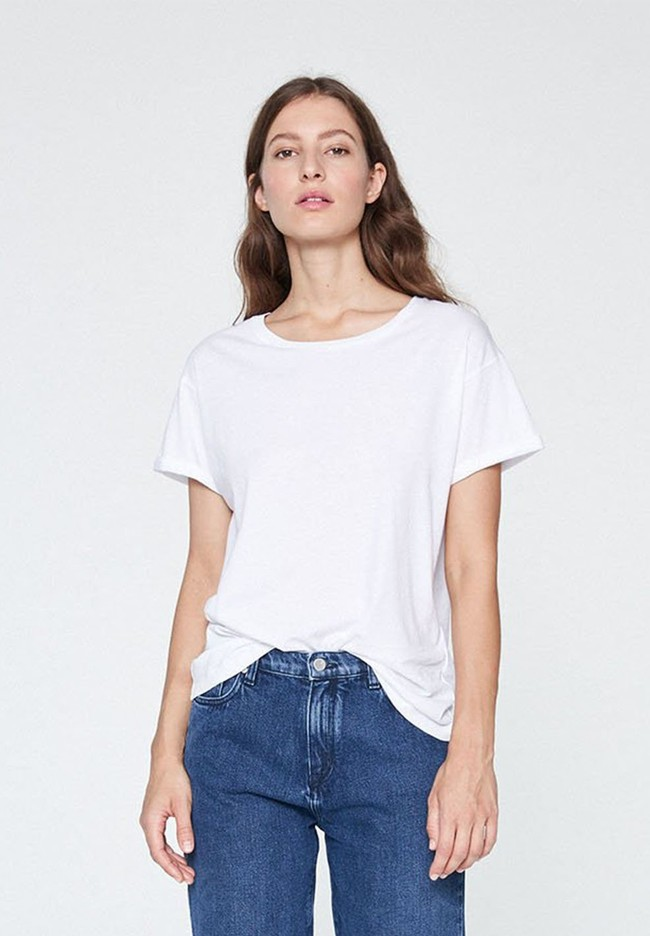 T-shirt blanc coton bio - naalin - Armedangels