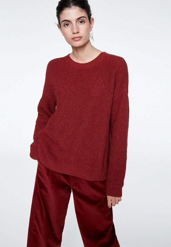 Pull rouge en coton et laine bio - melin - Armedangels
