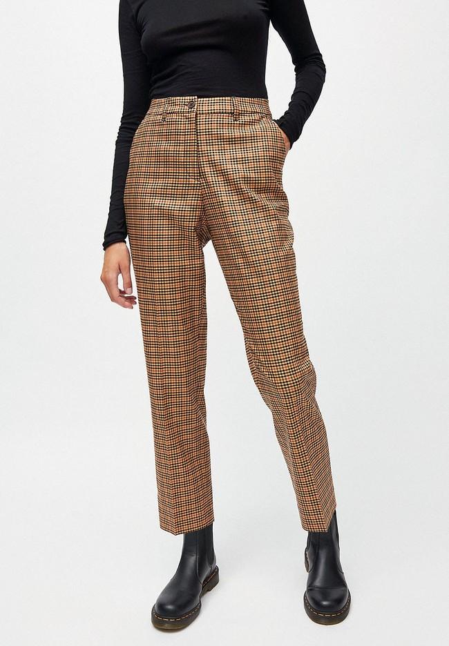 Pantalon à pinces carreaux marron en tencel - herttaa check - Armedangels
