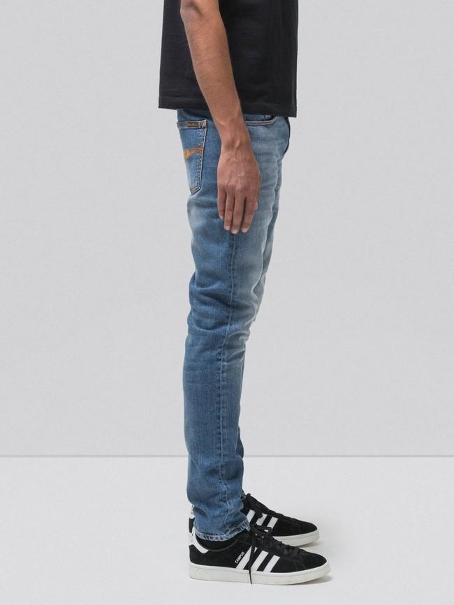 Jean slim bleu clair délavé en coton bio - lean dean pale favorite - Nudie Jeans num 2