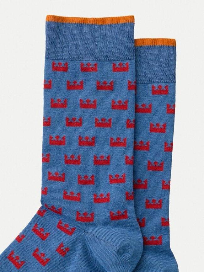 Chaussettes hautes imprimées bleues en coton mélangé - olsson crown - Nudie Jeans num 1