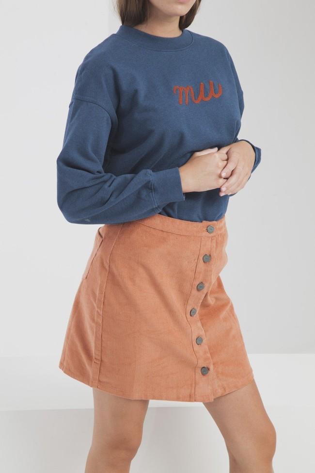 Jupe courte orange en coton biologique - Thinking Mu