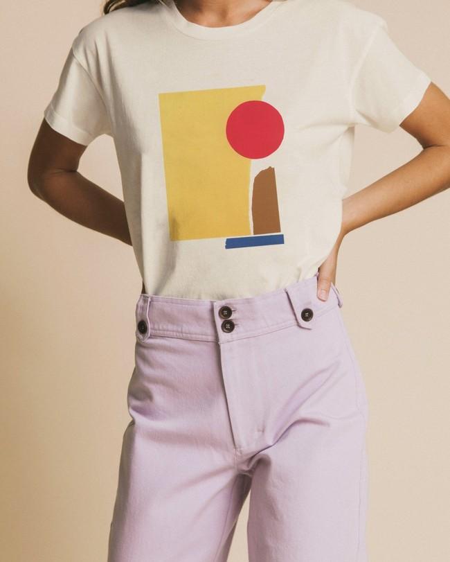 T-shirt imprimé blanc en coton bio - abstract - Thinking Mu