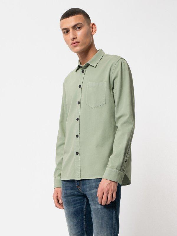 Chemise vert pâle en coton bio - henry - Nudie Jeans num 2