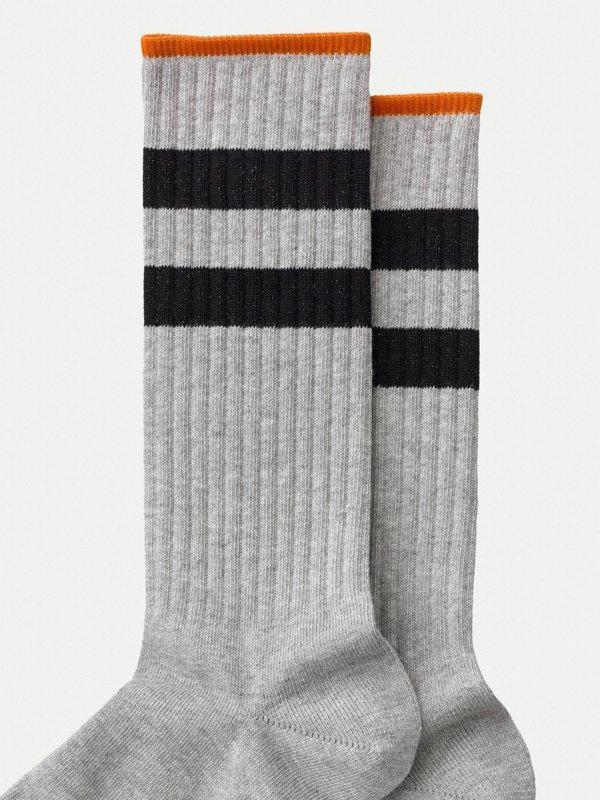 Chaussettes hautes grises en coton bio - amundsson sport - Nudie Jeans num 1