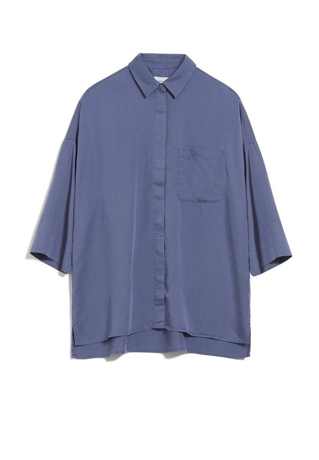 Chemise à manches courtes bleue en tencel - cassandraa - Armedangels num 4