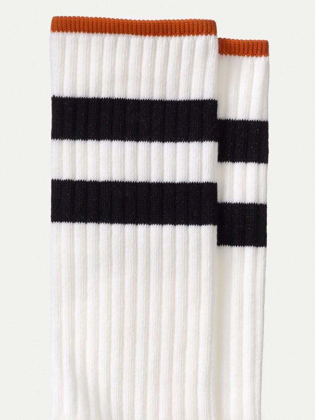 Chaussettes hautes blanc et noir en coton bio - amundsson sport - Nudie Jeans num 1