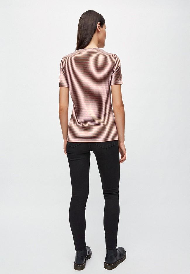 T-shirt rayures lila et marron en coton bio - lidaa - Armedangels num 3