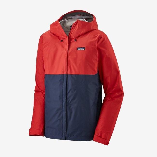 Veste imperméable rouge et bleu en nylon recyclé - torrentshell 3l - Patagonia