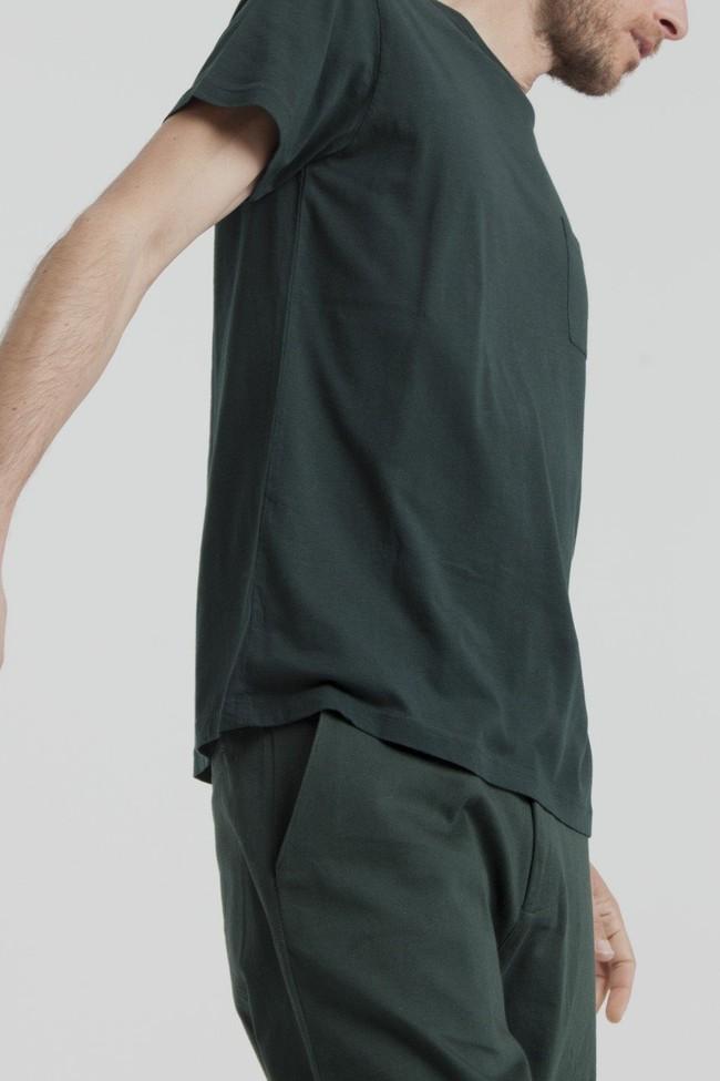 T-shirt uni vert forêt  avec poche en coton bio - Thinking Mu num 3