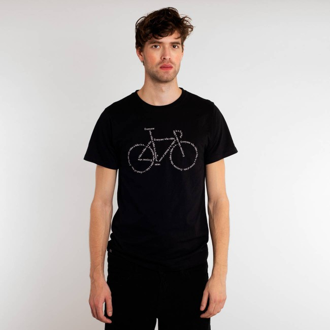 T-shirt noir motif vélo - text bike - Dedicated