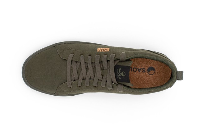Chaussures recyclées cannon dark olive homme - Saola num 3