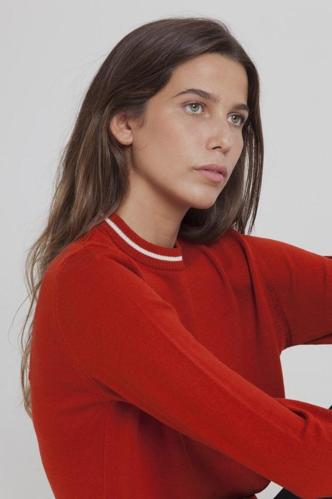Pull fin rouge citrouille en laine mérinos bio - Thinking Mu