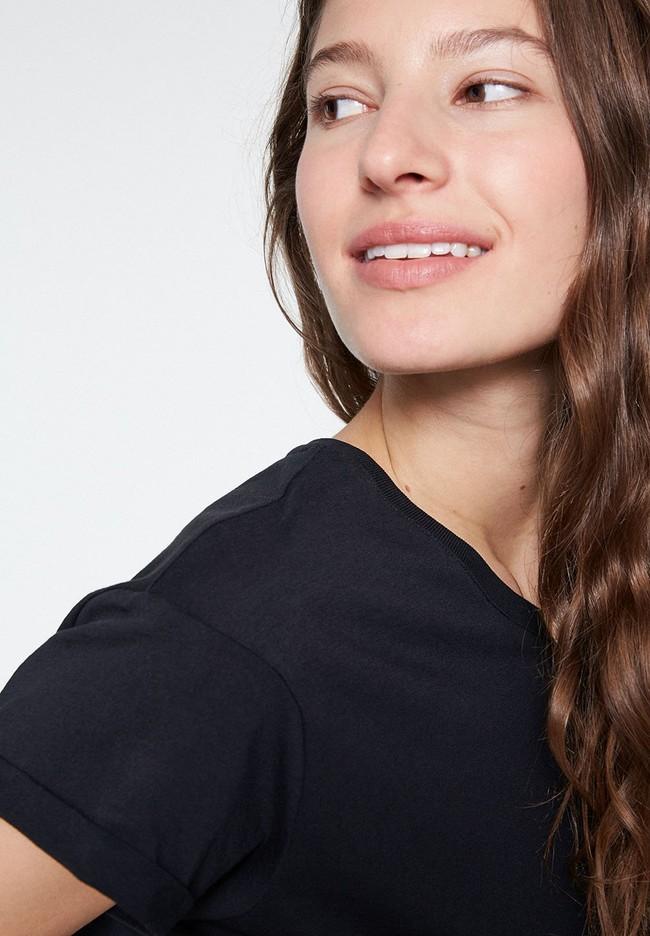 T-shirt noir en coton bio - naalin - Armedangels num 3