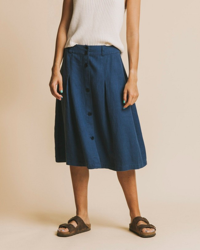 Jupe mi-longue bleu canard en chanvre et tencel - tugela - Thinking Mu