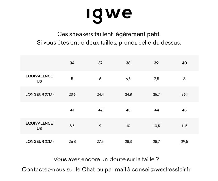 Guide de taille Igwe