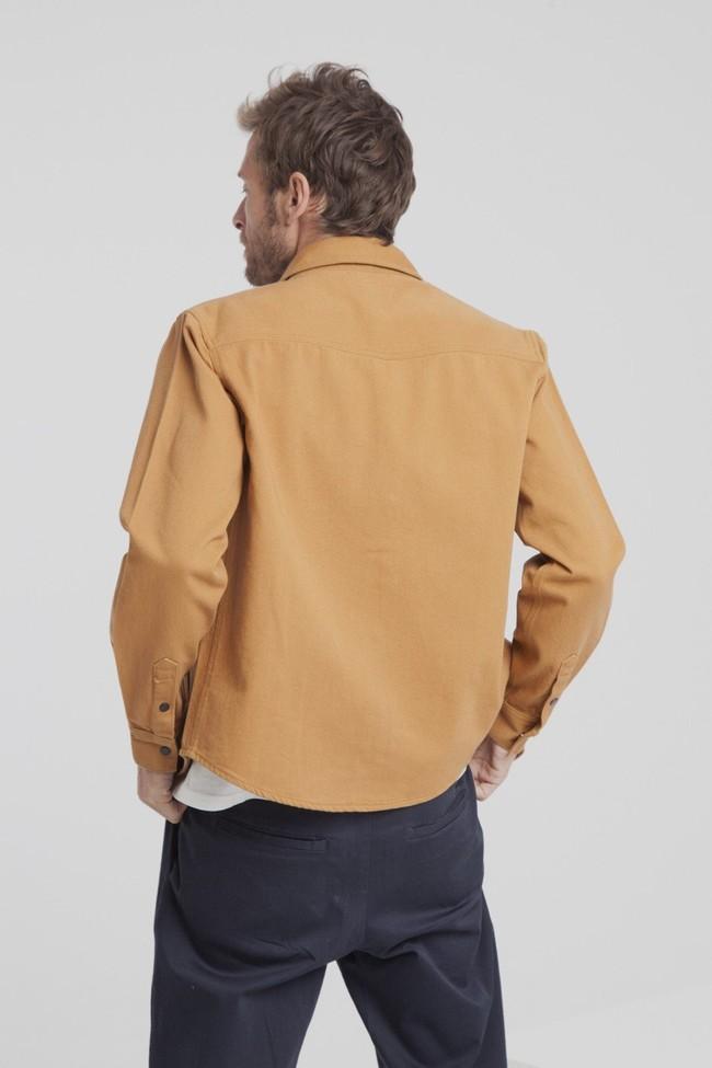 Surchemise camel poches noires twill en coton bio - Thinking Mu num 1