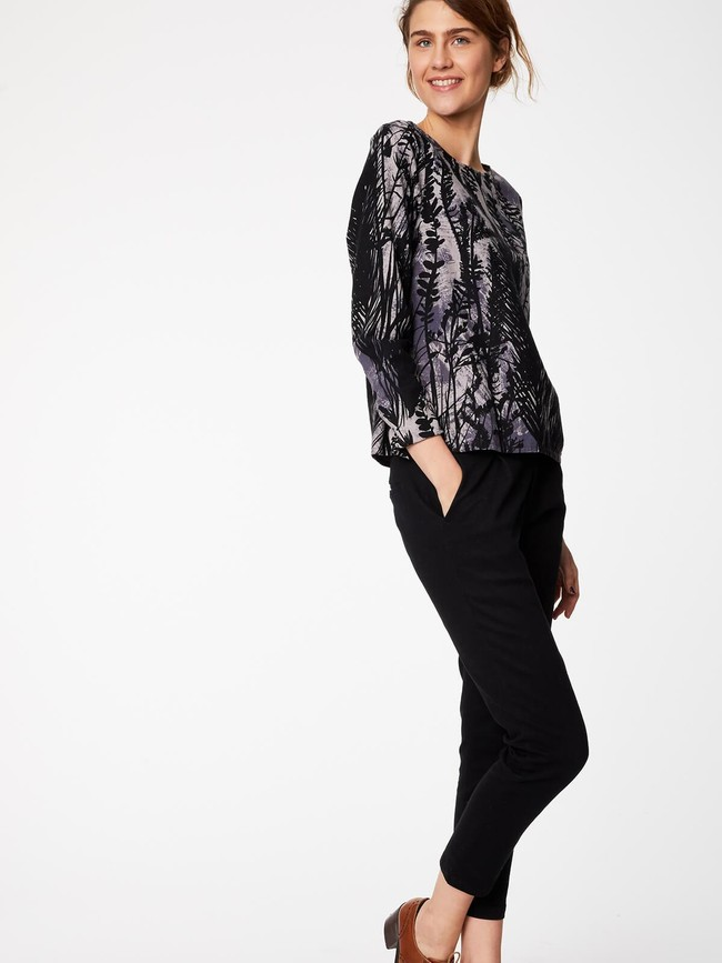 Pantalon noir en twill de coton biologique - Thought num 5