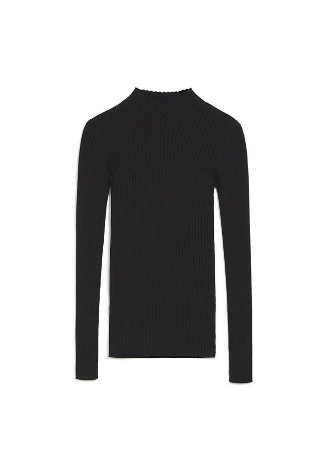 Sous-pull côtelé noir en coton bio - alaani - Armedangels num 4