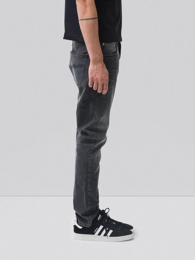 Jean slim gris délavé en coton bio - lean dean mono grey - Nudie Jeans num 2
