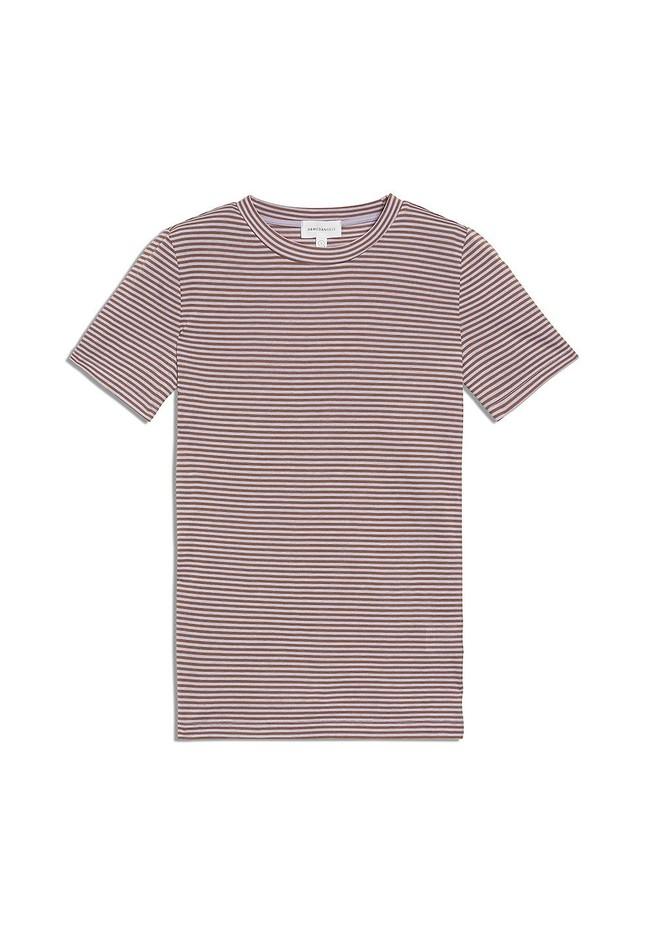 T-shirt rayures lila et marron en coton bio - lidaa - Armedangels num 4