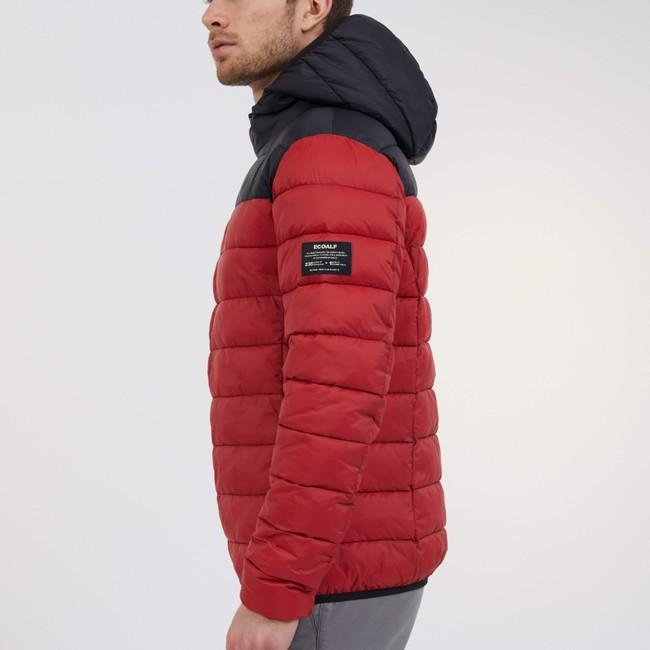 Doudoune à capuche bicolore rouge et noir en polyester recyclé - asp - Ecoalf num 3
