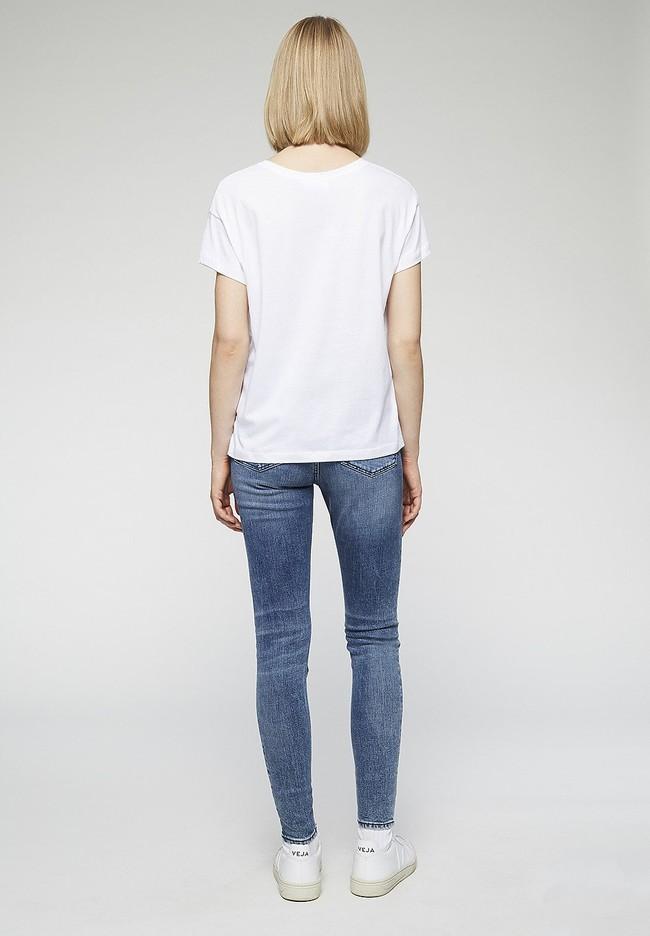T-shirt imprimé blanc en coton bio - nelaa - Armedangels num 3
