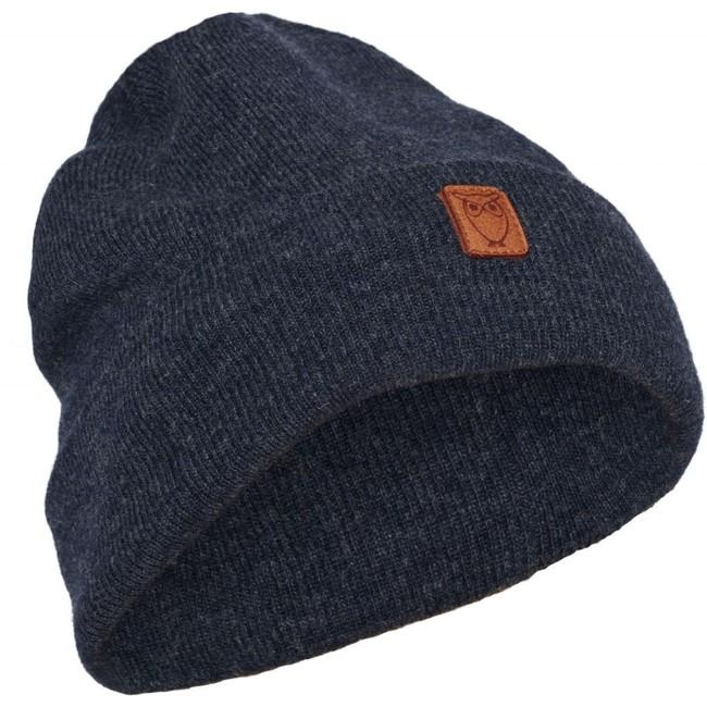 Bonnet à revers en laine bio bleu - Knowledge Cotton Apparel